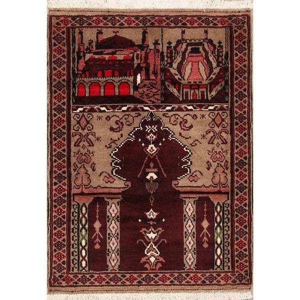 "Balouch Handmade Turkoman Persian Traditional Prayer Area Rug Wool - 4'4"" x 3'1"""