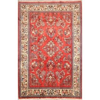 "Traditional Wool Sarouk Handmade Vintage Persian Area Rug - 6'10"" x 4'6"""