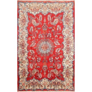 "Vintage Wool Hand Knotted Floral Wool Persian Sarouk Area Rug - 6'7"" x 4'4"""