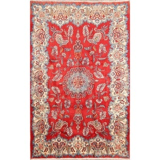 """Vintage Wool Hand Knotted Floral Wool Persian Sarouk Area Rug - 6'7"""" x 4'4"""""""