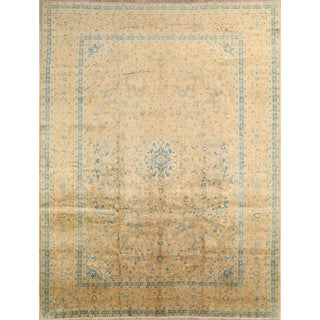"""Kashan Hand Knotted Persian Antique Floral Area Rug Wool - 12'7"""" x 9'9"""""""