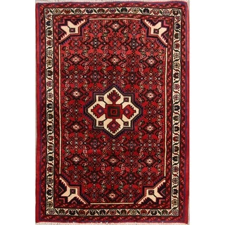 """Classical Hand Knotted Hamedan Persian Area Rug Wool - 4'11"""" x 3'5"""""""