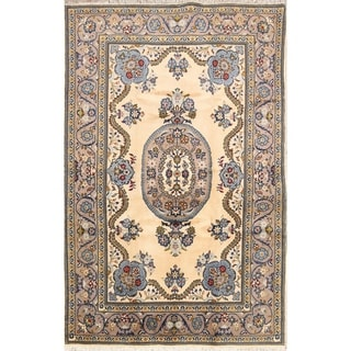 """Vintage Kashan Hand Knotted Medallion Persian Area Rug Wool - 6'7"""" x 4'4"""""""