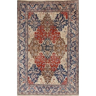 """Antique Tabriz Wool Hand Knotted Persian Area Rug Medallion - 9'9"""" x 6'9"""""""
