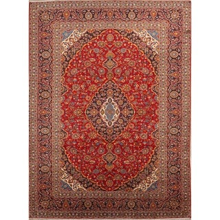 "Kashan Hand Knotted Vintage Persian Traditional Area Rug Wool - 13'2"" x 9'10"""