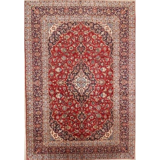 """Kashan Hand Made Vintage Persian Traditional Wool Area Rug - 11'11"""" x 8'1"""""""
