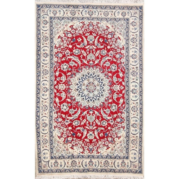 Shop Classical Kashan Medallion Hand Knotted Persian Wool: Shop Classical Hand Knotted Nain Isfahan Persian Area Rug