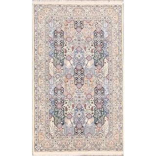 "Genuine Wool Hand Knotted Nain Isfahan Persian Area Rug - 8'0"" x 4'11"""