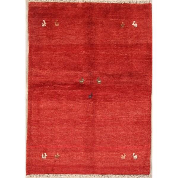 "Shiraz Hand Knotted Wool Tribal Gabbeh Persian Area Rug Oriental - 5'7"" x 4'1"""