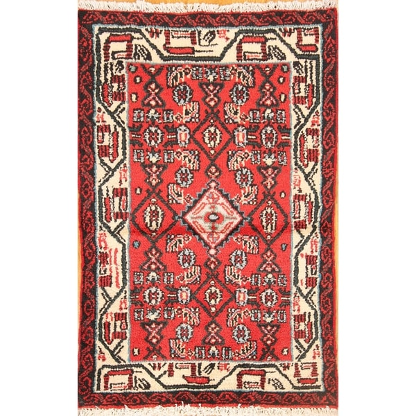"""Oriental Red Vintage Traditional Hamedan Persian Hand Made Area Rug - 3'5"""" x 2'2"""""""