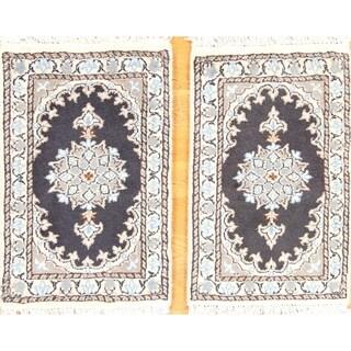 """Floral Hand Made Pair Of Nain Isfahan Classical Persian Rug - 2'0"""" x 1'4"""""""