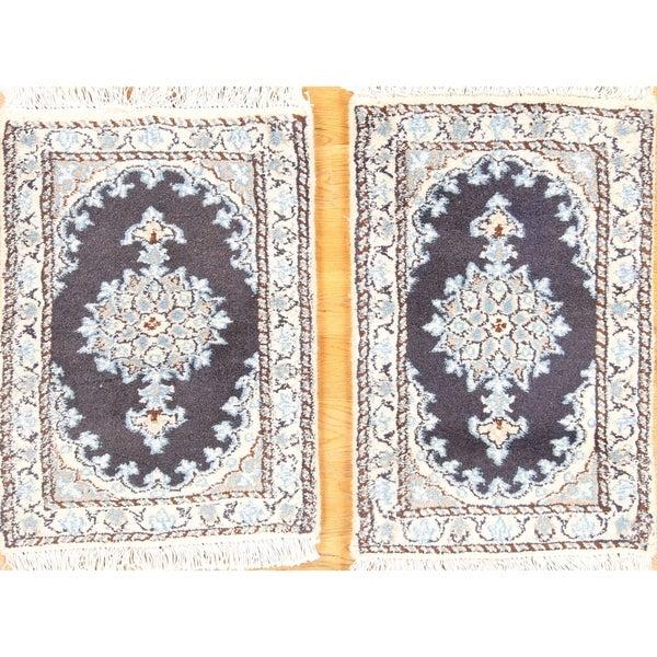 """Handmade Traditional Pair Of Nain Isfahan Floral Persian Rug - 2'0"""" x 1""""3"""""""