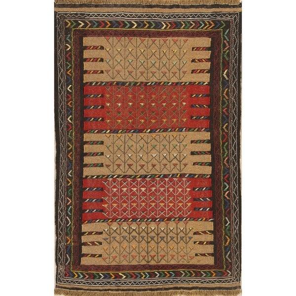 "Classical Kilim Wool Shiraz Qashqai Hand Made Persian Area Rug Wool - 5'8"" x 3'6"""