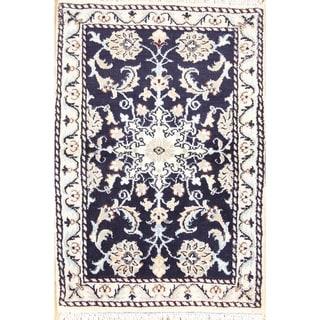 """Handmade Wool Nain Isfahan Persian Area Rug Floral - 2'10"""" x 2'0"""""""