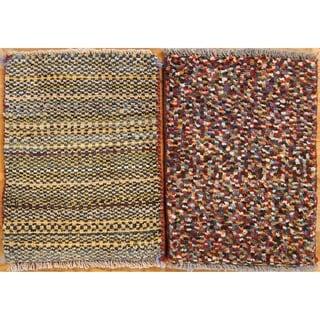 "Pair of 2 Shiraz Hand Made Gabbeh Persian Wool Square Area Rug - 1'11"" x 1'5"""