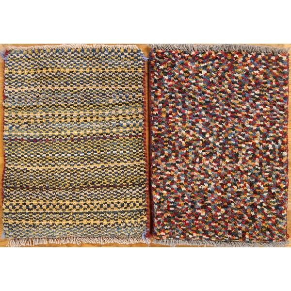 Shop Pair Of 2 Shiraz Hand Made Gabbeh Persian Wool Square Area Rug