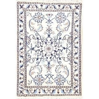 """Handmade Wool Nain Isfahan Persian Floral Area Rug - 3'0"""" x 2'0"""""""