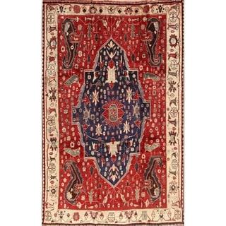 "Antique Kashkoli Shiraz Hand Made Wool Persian Tribal Area Rug - 9'6"" x 6'1"""