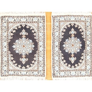 "Floral Hand Knotted Pair Of Nain Isfahan Persian Classical Rug - 1'11"" x 1'4"""