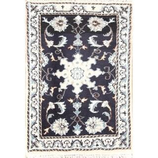 """Handmade Wool Nain Isfahan Persian Floral Area Rug - 2'9"""" x 1'10"""""""
