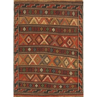 "Classical Kilim Wool Shiraz Hand Woven Persian Area Rug Wool - 4'9"" x 3'5"""