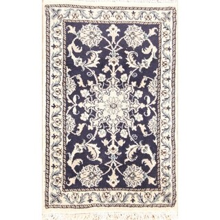 "Handmade Wool Nain Isfahan Persian Traditional Area Rug - 3'0"" x 1'11"""