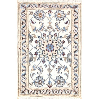 "Hand Knotted Wool Floral Nain Isfahan Persian Area Rug - 2'10"" x 1'10"""