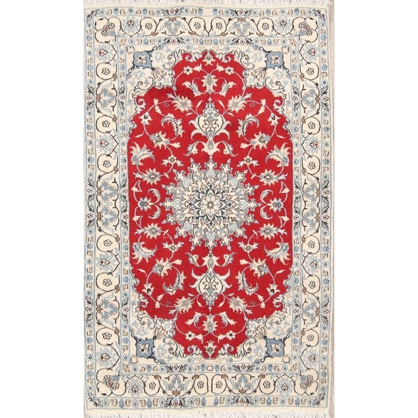 """Classical Nain Hand Knotted Isfahan Persian Traditional Area Rug Wool - 6'7"""" x 3'11"""""""