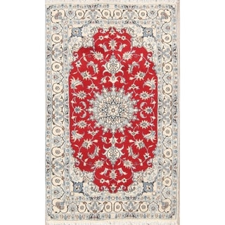 "Classical Nain Hand Knotted Isfahan Persian Traditional Area Rug Wool - 6'7"" x 3'11"""