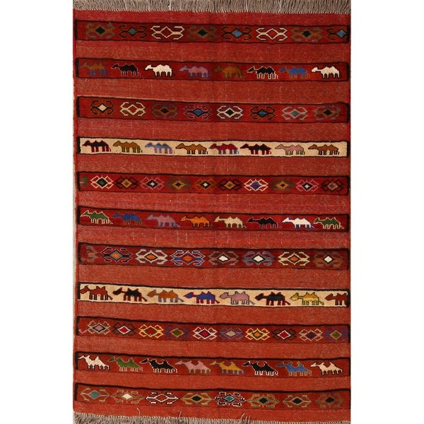 "Classical Kilim Wool Shiraz Hand Made Persian Area Rug - 5'6"" x 3'9"""