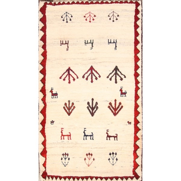 """Hand Knotted Oriental Little Animals Nomad Gabbeh Shiraz Persian Rug - 4'11"""" x 2'9"""""""