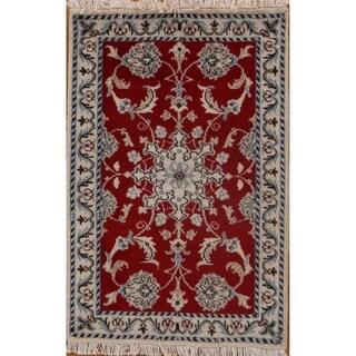 """Classical Wool Hand Made Nain Isfahan Persian Floral Area Rug - 3'1"""" x 2'0"""""""