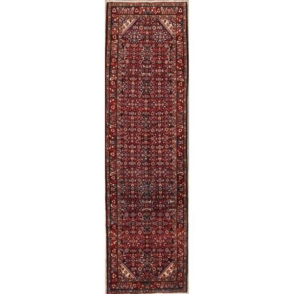 "Medallion Hand Made Hamedan Persian Oriental Wool Rug - 13'0"" x 3'8"" runner"