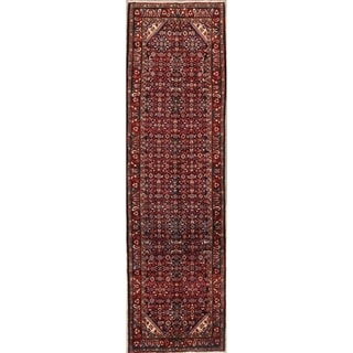 "Medallion Hand Made Hamedan Persian Oriental Wool Rug - 13'0"" x 3'8"" runner"