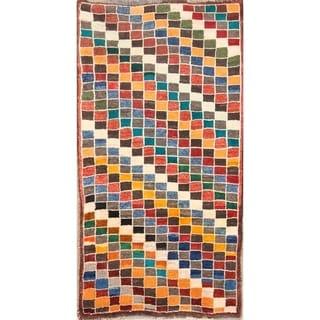 "Traditional Handmade Wool Checked Gabbeh Shiraz Persian Rug - 5'4"" x 2'10"""