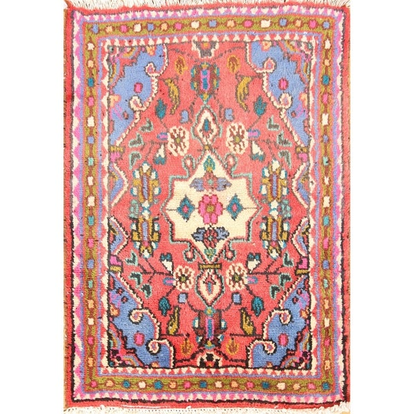 """Hamedan Hand Knotted Vintage Persian Traditional Area Rug Wool - 2'7"""" x 1'10"""""""