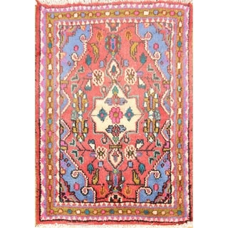 "Hamedan Hand Knotted Vintage Persian Traditional Area Rug Wool - 2'7"" x 1'10"""