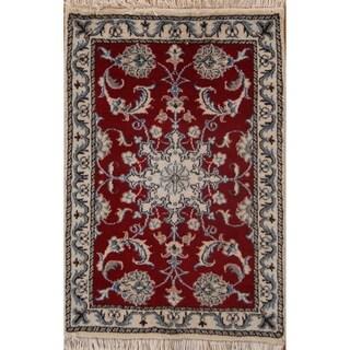 """Classical Wool Hand Made Nain Isfahan Persian Area Rug Floral - 2'11"""" x 2'0"""""""