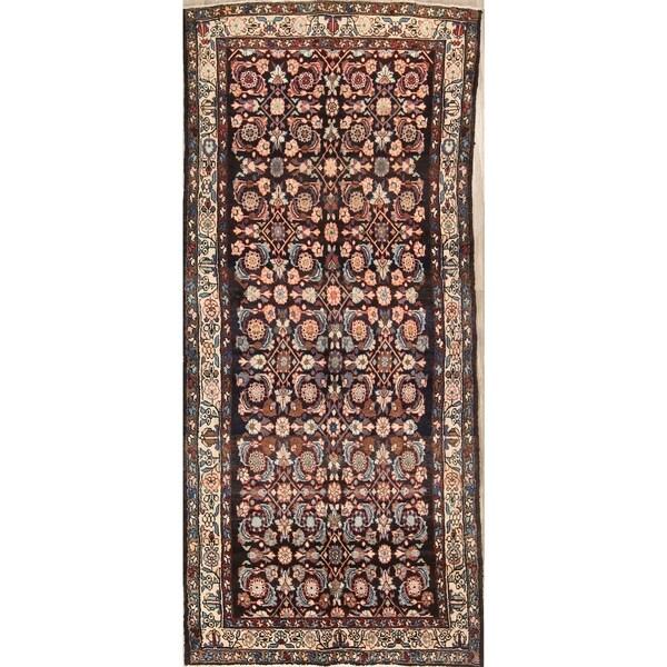 """Hand Made Woolen Malayer Hamedan Persian Floral Rug Antique - 9'2"""" x 4'0"""" runner"""