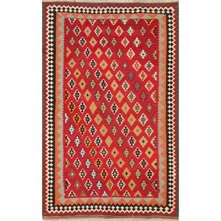 "Kilim Kashkoli Shiraz Hand Woven Wool Persian Vintage Area Rug - 8'2"" x 5'3"""
