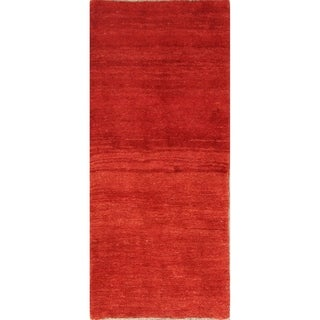 """Hand Knotted Traditional Solid Red Gabbeh Shiraz Wool Persian Rug - 6'3"""" x 2'9"""" runner"""