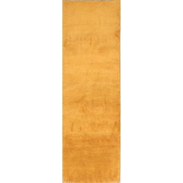 "Thick Pile Solid Gabbeh Shiraz Handmade Persian Wool Rug - 8'2"" x 2'7"" runner"