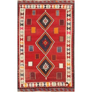 "Kilim Qashqai Shiraz Hand Woven Vintage Persian Traditional Area Rug - 8'2"" x 5'2"""