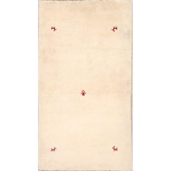 "Little Animals Ivory Gabbeh Shiraz Handmade Persian Wool Rug - 6'1"" x 2'7"" runner"