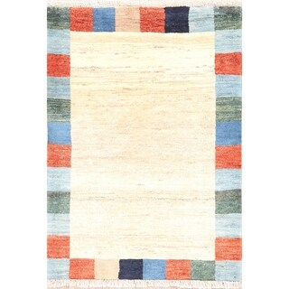 "Modern Gabbeh Zolanvari Shiraz Hand Knotted Persian Area Rug Wool - 3'9"" x 2'8"""