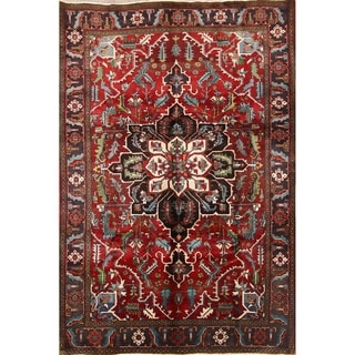 """Heriz Wool Serapi Hand Knotted Vintage Persian Traditional Area Rug - 10'7"""" x 7'5"""""""