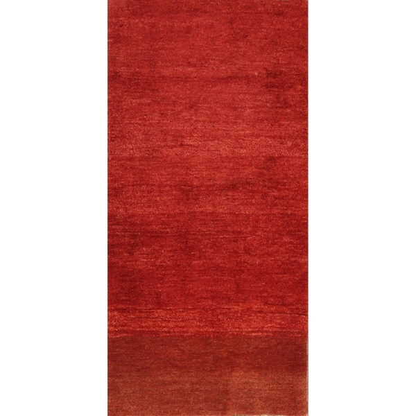 """Hand Knotted Wool Classical Solid Red Gabbeh Shiraz Persian Rug - 6'6"""" x 3'2"""" runner"""