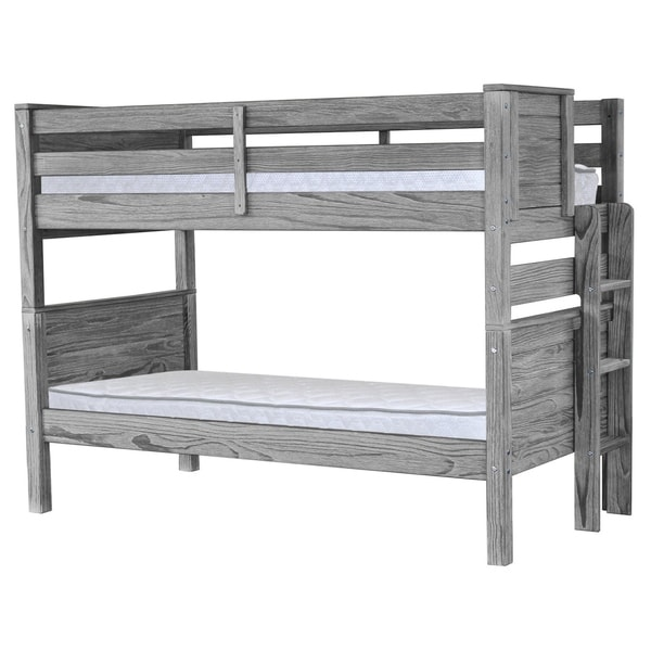 Bedz Rustic Mission Style Grey Wood King Twin over Twin Bunk Beds with End Ladder