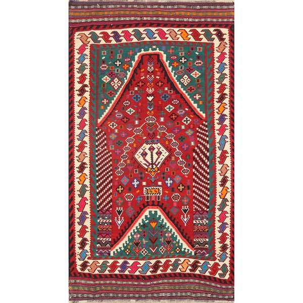 "Kilim Wool Kashkoli Hand Woven Vintage Persian Traditional Area Rug - 9'4"" x 5'5"""