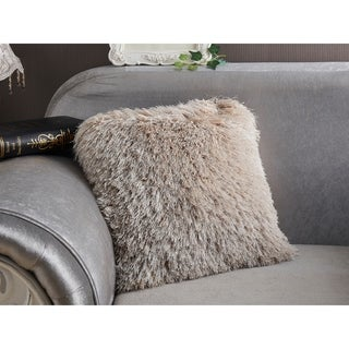 """""""Decorative"""" Shaggy Pillow with Lurex in Beige (18-in x 18-in)"""